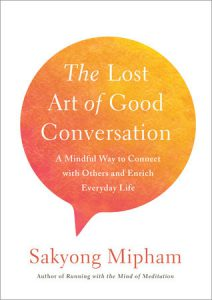 The title book 'The Lost Art of Good Conversation' is displayed in an orange and yellow speech bubble.